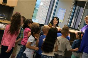 Kindergartners take a tour of FESoT Aug. 1 to get acquainted with their new school.