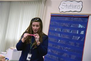 Mary Hopper, project-based learning teacher, shares an activity with students on the first day of school at WHES Aug. 2.