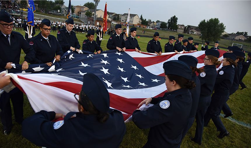 AFJROTC Cadets from SCHS and VRHS collapse the U.S.flag Sept. 8.