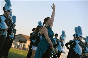 Cassidy Queen, sophomore, brings enthusiasm to the VRHS band performance before the homecoming game Sept. 14.