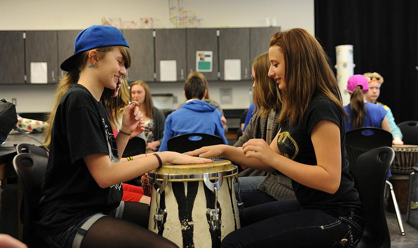 Students Study Drumming Basics, History