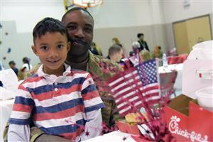 Students and their military parents enjoy an appreciation luncheon at RES Nov. 13.