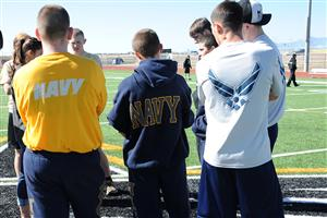 JROTC gather during the PT challenge