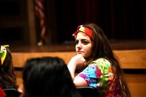 Kayli Adams, SCHS senior and an organizer of the 2016 MSLC, held at SCHS, listens to a student question April 15.
