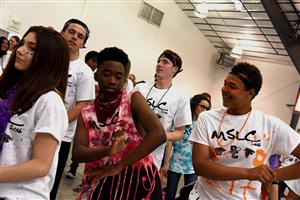 Mekhi Reese, SCHS sophomore, and Bruce Smith, SCHS freshman, dance at the MSLC at SCHS April 15.