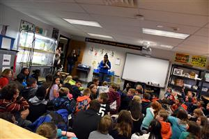 Carlee Hoffman, KOAA News 5 meteorologist, explains severe weather to SES fifth graders April 29.