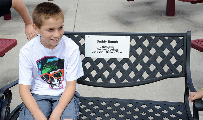 Student Council Members Bring Buddy Bench to RVES