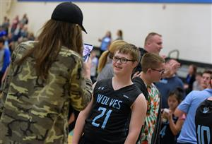 Team member is all smiles after the Unified basketball game April 24 at VRHS.