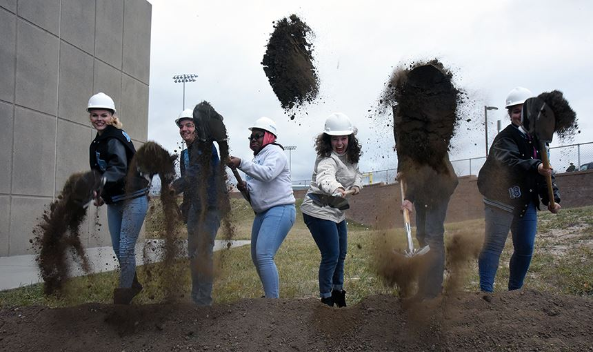 VRHS students break ground on the new performing arts spaces, gym and classroom Oct. 26.
