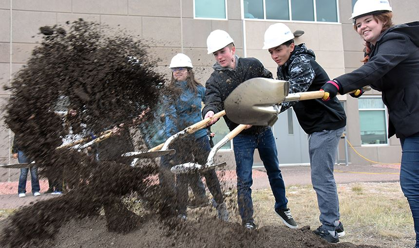 Falcon High School students break ground Oct. 27