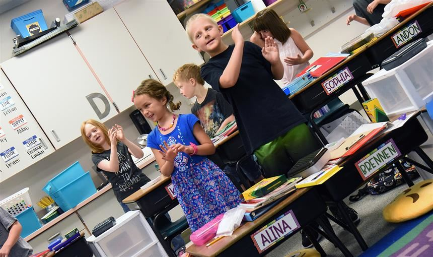 Second graders in Lori Anne McCoy's class are geared up for the first day at RES on Aug. 2.