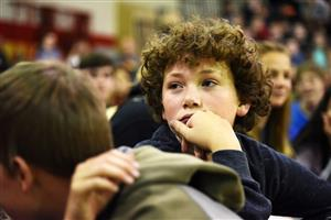 A FMS student listens to an address Nov. 10 during a Veterans Day assembly.