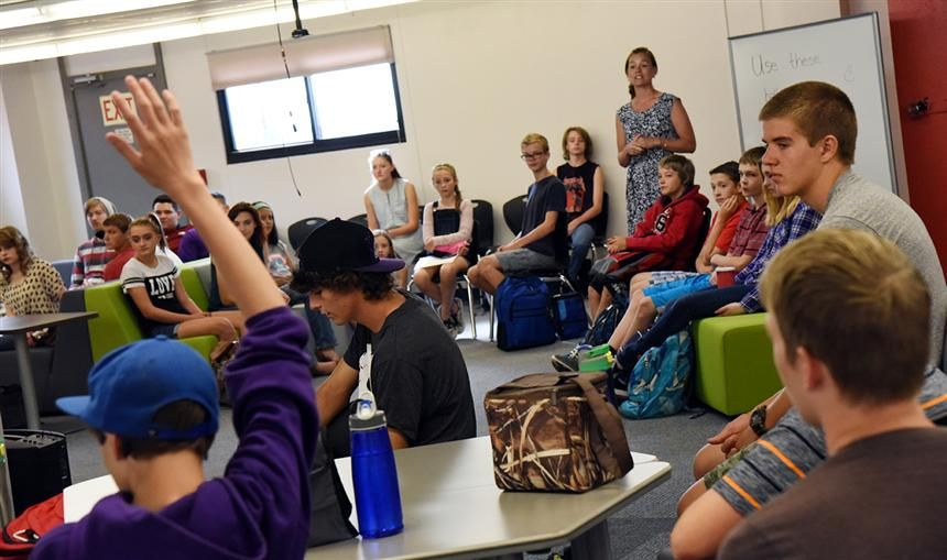 Falcon Homeschool Academic Program students gather at the Falcon Legacy Campus as school begins Aug