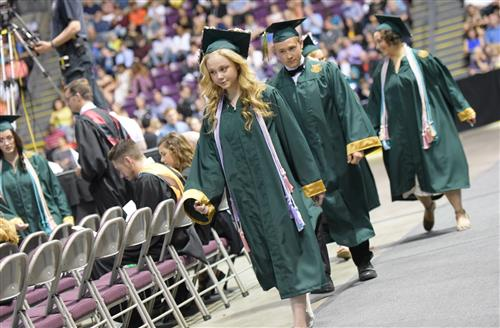 FHS Seniors walk to their seats for graduation ceremony May 25 at Broadmoor World Arena