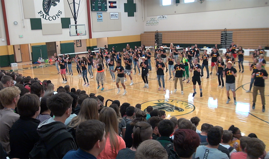 Falcon High School seniors welcome the new freshmen class during a back to school pep rally.