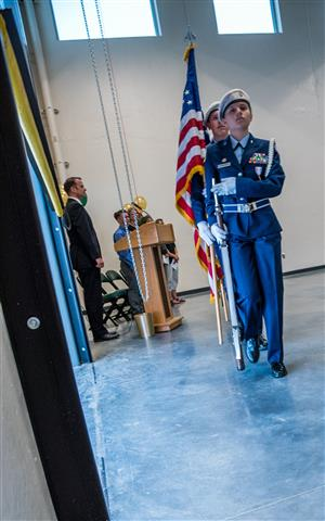 The FHS JROTC Color Guard posts colors during FHS ribbon-cutting, July 27.