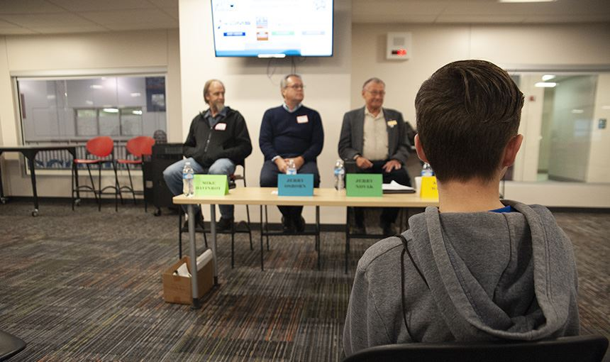 The skilled trades panel begins its presentation during the Get a Life Career Expo at SCHS, Oct. 11