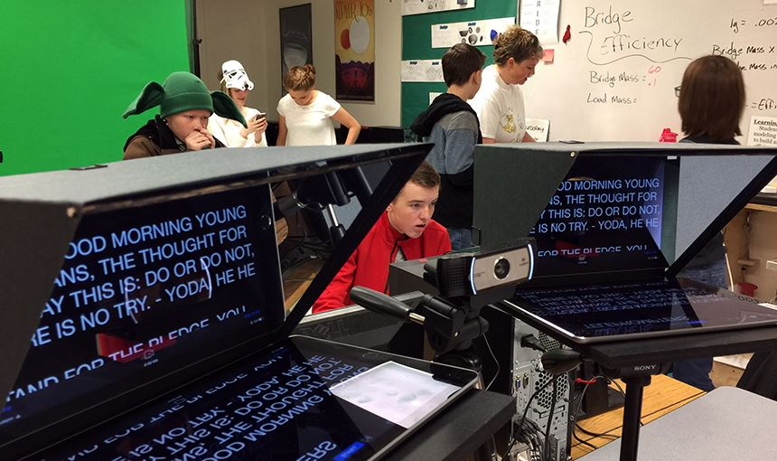 Falcon Middle School students prepare for a live broadcast of Firebird Nation News May 4.