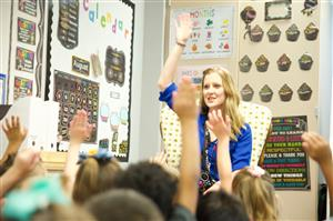 Brittney Schantz spends her first day with students as a Kindergarten teacher at RVES August 3