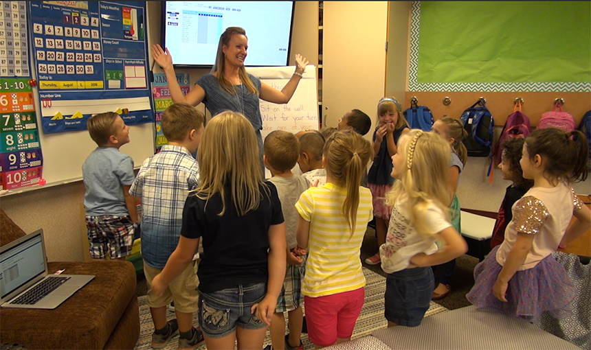 Odyssey Elementary kindergarten students enjoy their first day of school.