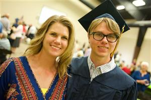 PPEC graduate Thomas Gunter with his mother and guest speaker, Terri