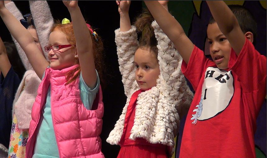 "RES first-graders perform during ""Seussical Jr."" March 15."