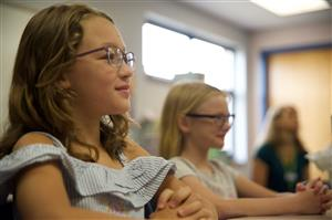 Rieley Carroll, RVES third-grader, listens in class during RVES' first day of school, August 3