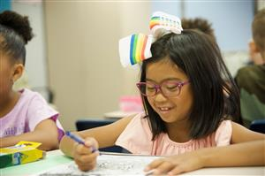 Sayya Ogden, RVES second-grader, works on a warm up assignment on her first day of school, August 3