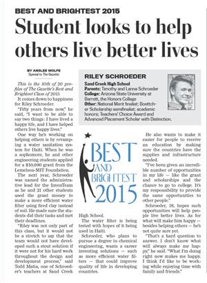 Best and Brightest 2015: Riley Schroeder