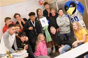 Students at FHS celebrate as their teacher is recognized by AFA Sept. 23.