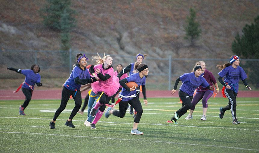 Vista Ridge High School senior girls beat juniors during powder puff game