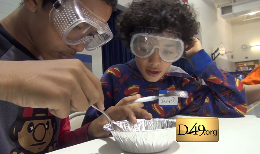Family Science Experiments At WHES Made Possible By Falcon Education Foundation