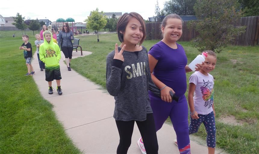 Girls participating at a Walking Wednesday at OES Aug. 16.