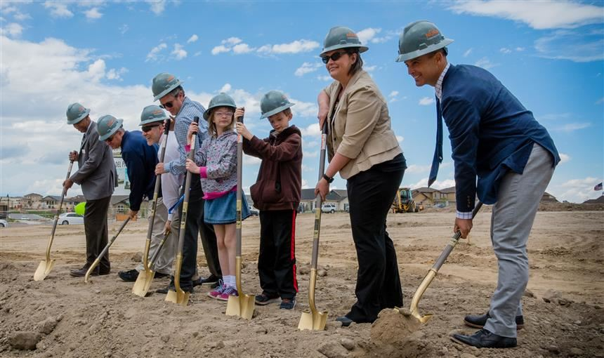 D49 Chief Officers and other dignitaries break ground for new elementary school.