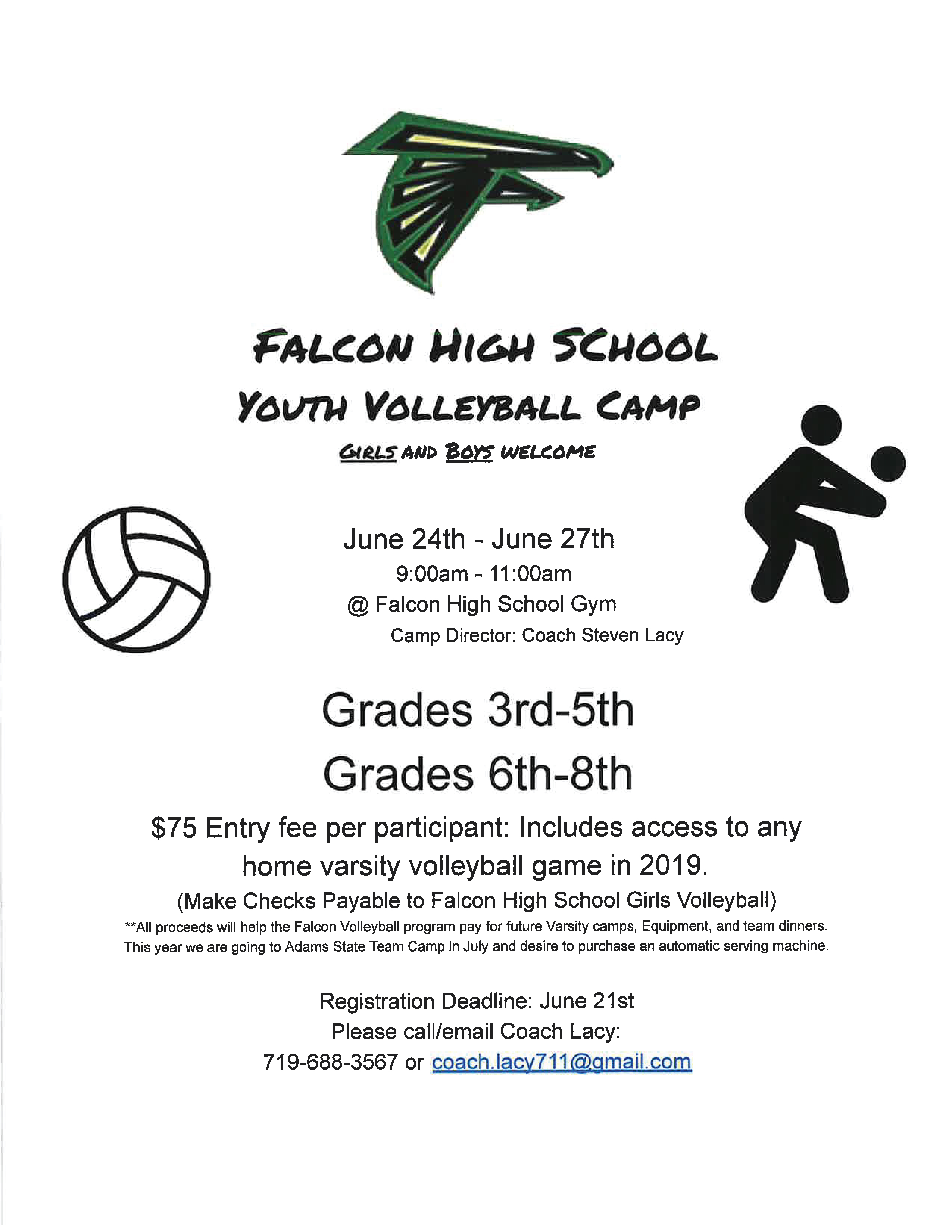 Falcon High School Volleyball Camp