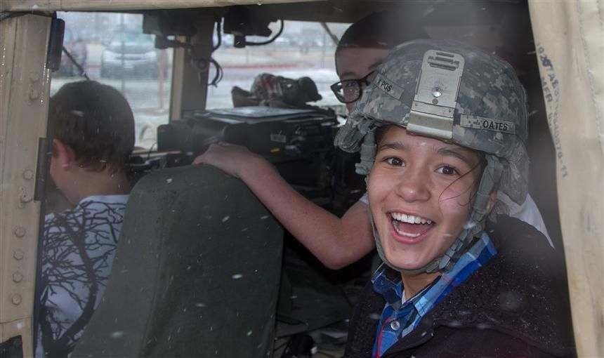 RVES student in Humvee during  68th CSSB's visit April 28.