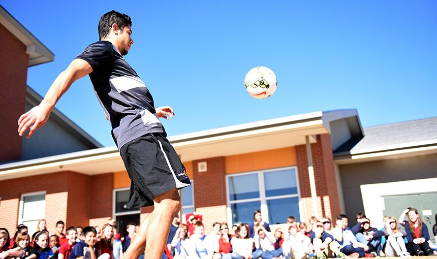 Carlos Contreras, a Colorado Springs Switchbacks FC midfielder, shows off his soccer skills.