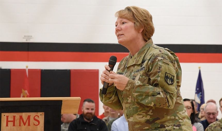 U.S. Army Maj. Gen. Peggy C. Combs speaks to Horizon Middle School students Nov. 11.