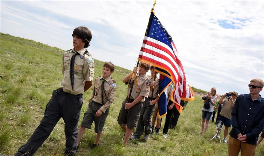 Boy Scouts present the colors at a BLPA groundbreaking ceremony June 30.
