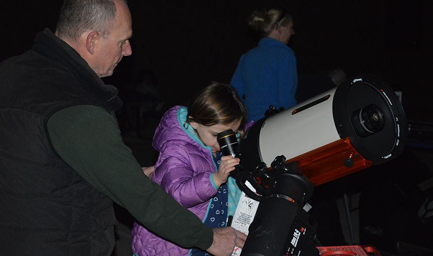 RMCA first-grade student studies the moon Feb. 9.